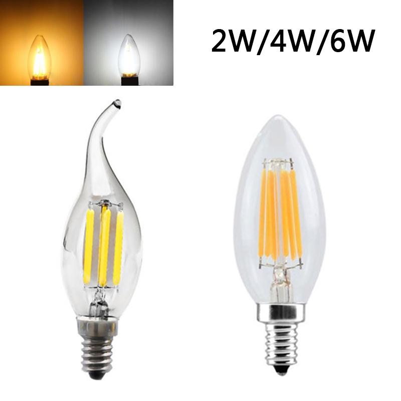 E12 2//4//6W Edison COB Filament Retro LED Light Candle//Flame Bulb Lamp Chandelier