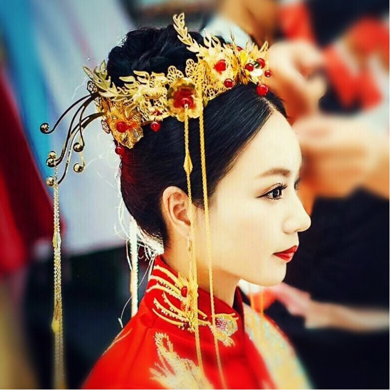 New Chinese bride headdress Classical phoenix rocking suit🌸🌸