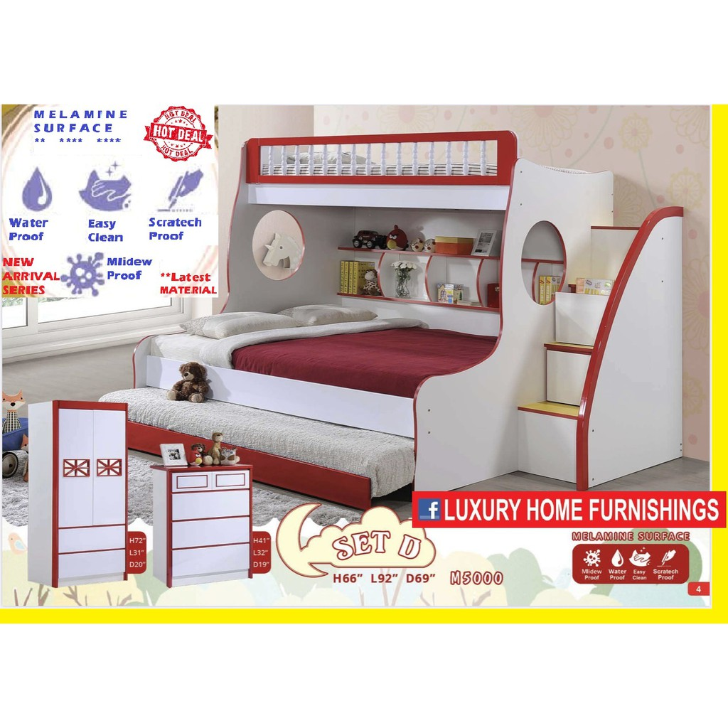 BUNK BED SET WITH W/R AND CHEST OF DRAWERS, MELAMINE SURFACE, JUNE 2020 SERIES