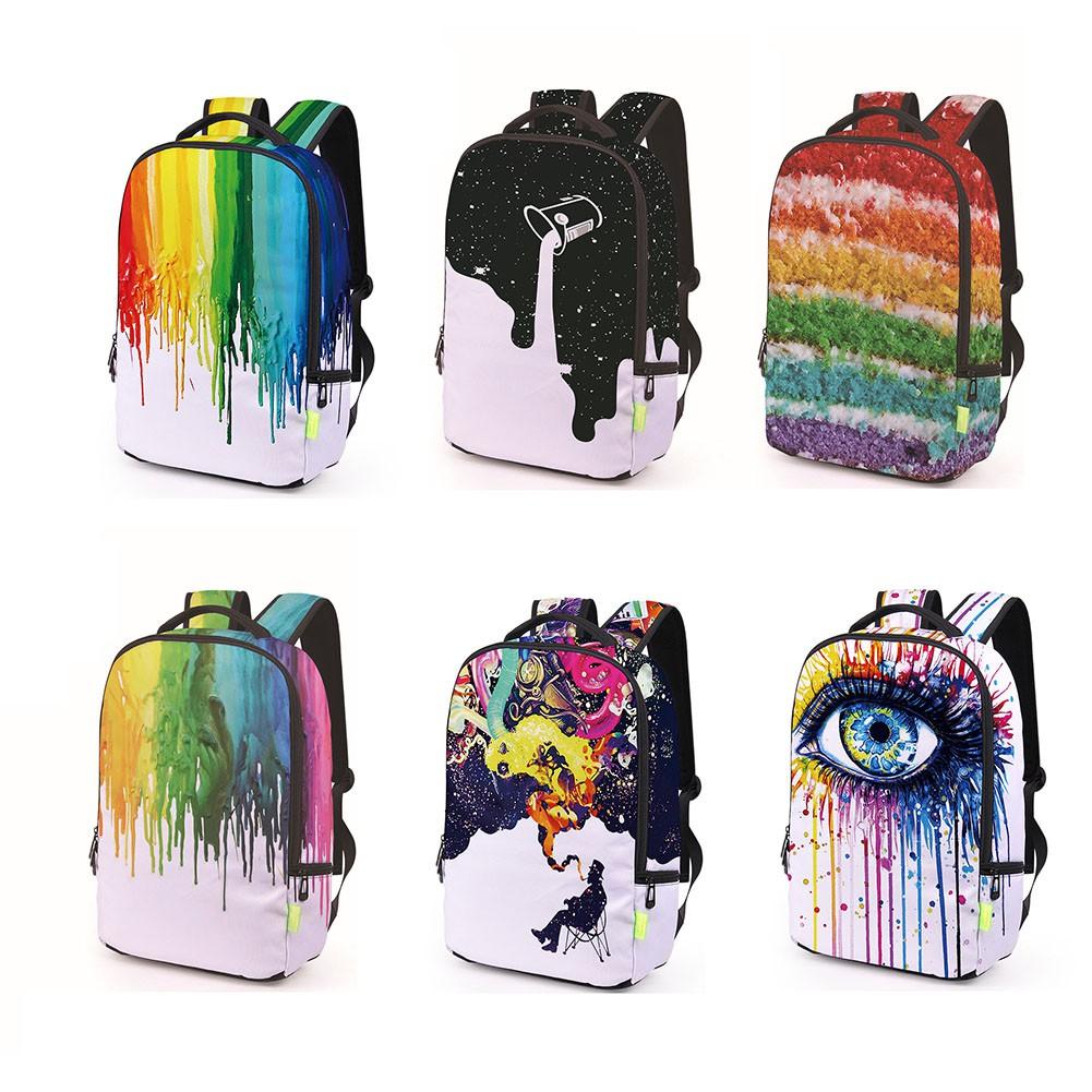 ddccgfashion กระเป๋าเป้สะพายหลังพิมพ์ลาย 3 d graffiti eye สําหรับผู้ชายและผู