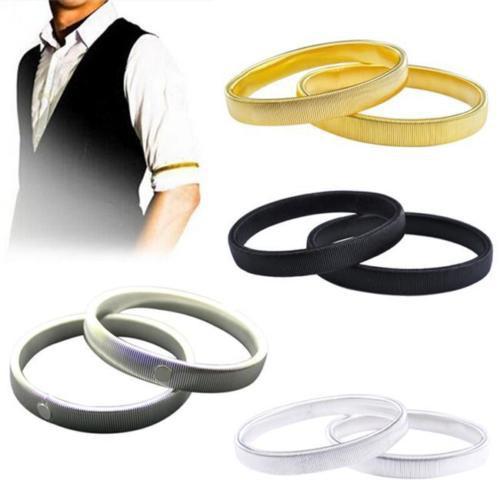 1 Pair Shirt Sleeve Holders Arm Bands Garter Mens Ladies Elasticated Alloy Band