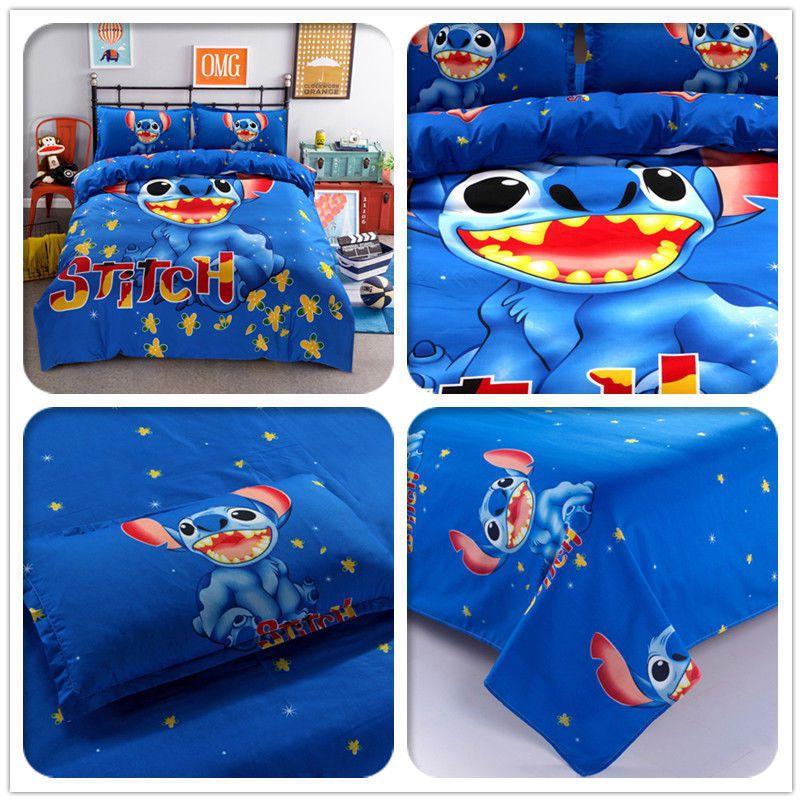 Gift Cartoon Stitch Cotton Blend Duvet Comforter Cover 4pcs Bedding Set new