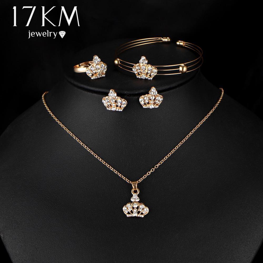 3b31e250c923e Romantic Fashion 3 Pcs/set Crown Pendant Necklace Strand Bracelet Stud  Earrings Ring Women Jewelry