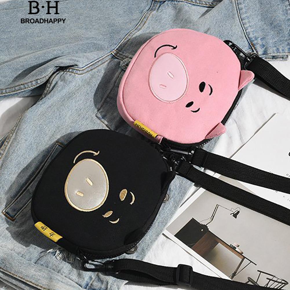 broadhappy Kawaii Pig Canvas Crossbody Shoulder Bag Small Zipper Pouch