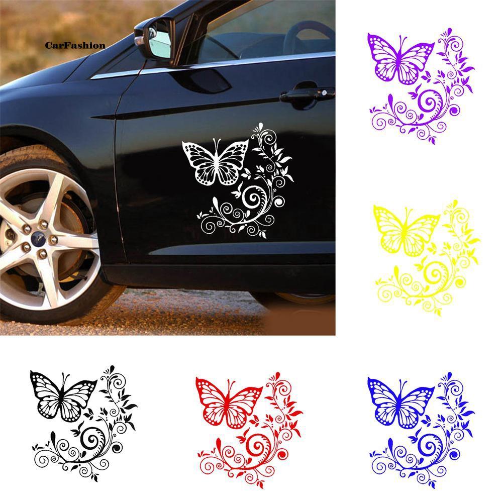 Flying Butterfly Flower Car PET Sticker Truck Door Window Reflective Decal Decor