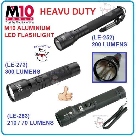 HEAVY DUTY M10 ALUMINIUM 1W 3W 5W LED FLASHLIGHT QUICKFOCUS TORCH LIGHT LANTERN LE-252 LE-273 LE-283 CAMPING HIKING TOOL