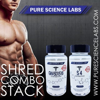 SARMS PURE SCIENCE LABS SHRED STACK COMBO GW-501516 & S4 (FREE T