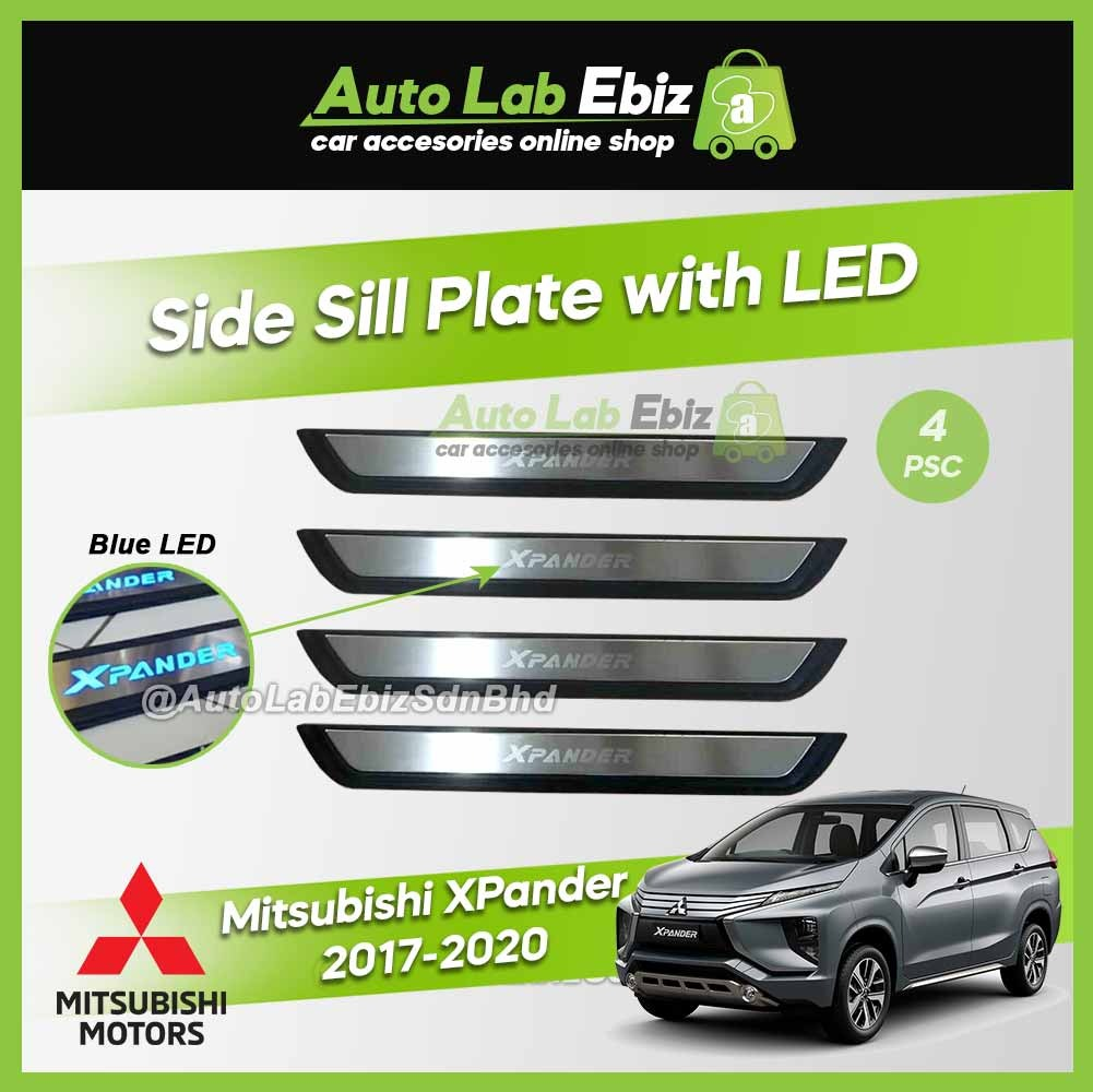 Mitsubishi XPander 2017-2020 Side Sill Plate with LED Blue (4pcs/set)