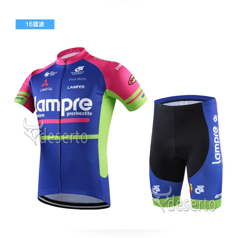 Bib Lampre Merida 16 PRO Short sleeve jersey   padded cycling shorts  COOLMAX 3D  e340b94cf