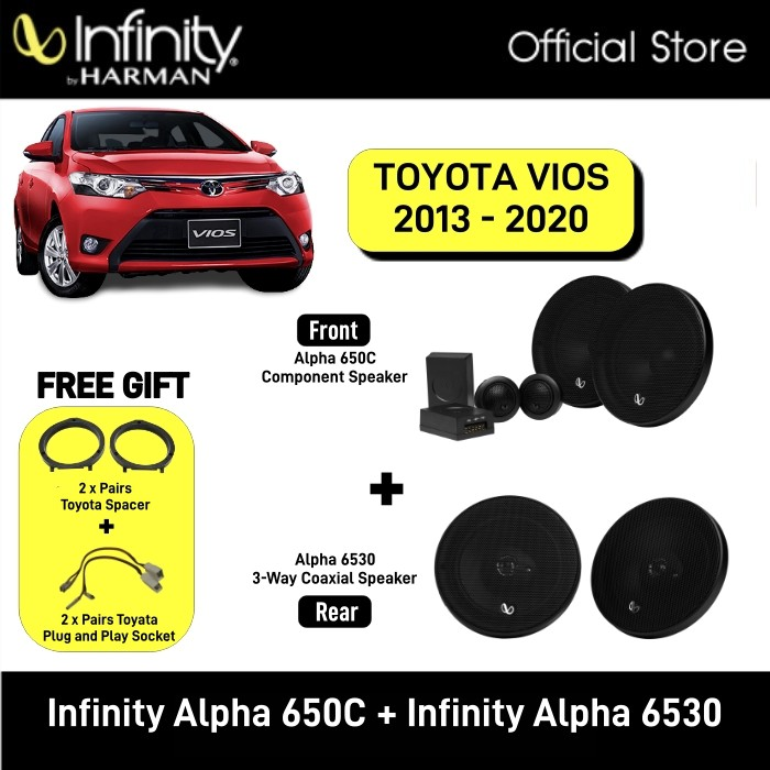 Infinity Alpha 650C 6.5inch 2-Way Component System + Infinity Alpha 6530 6.5 3-Way Speaker Package Toyota Vios