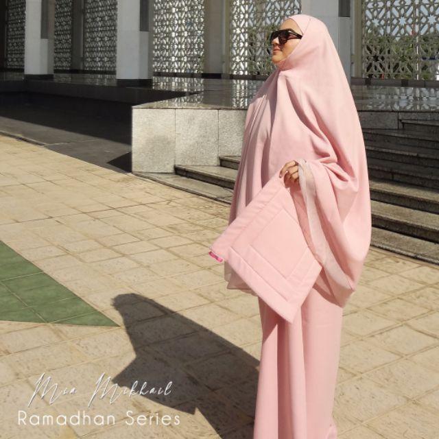 ROSE PINK : MIA MIKHAIL  2in1 Telekung/Hijab + Squishy Mini Sejadah