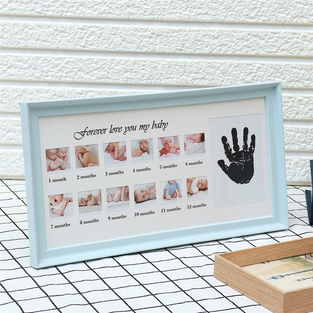 Baby Hand or Foot Print /& My First Year Baby Photo Frame Grey with Ink Pad