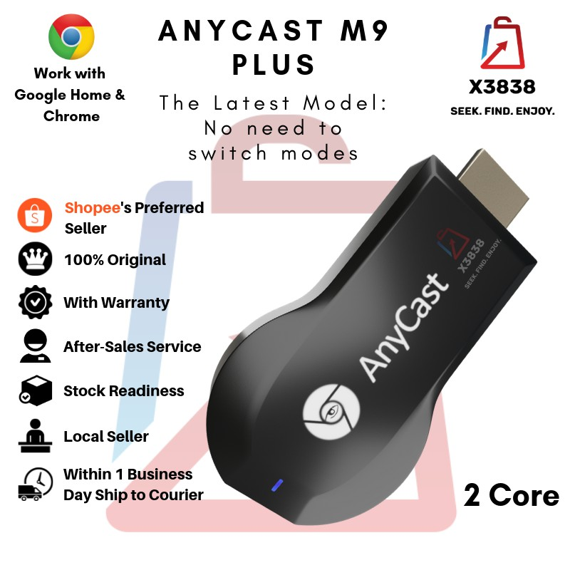 Genuine Anycast M9 PLUS 1080p Wireless WiFi Chromecast Miracast DLNA  Airplay TV Dongle HDMI Compatible with Google Home