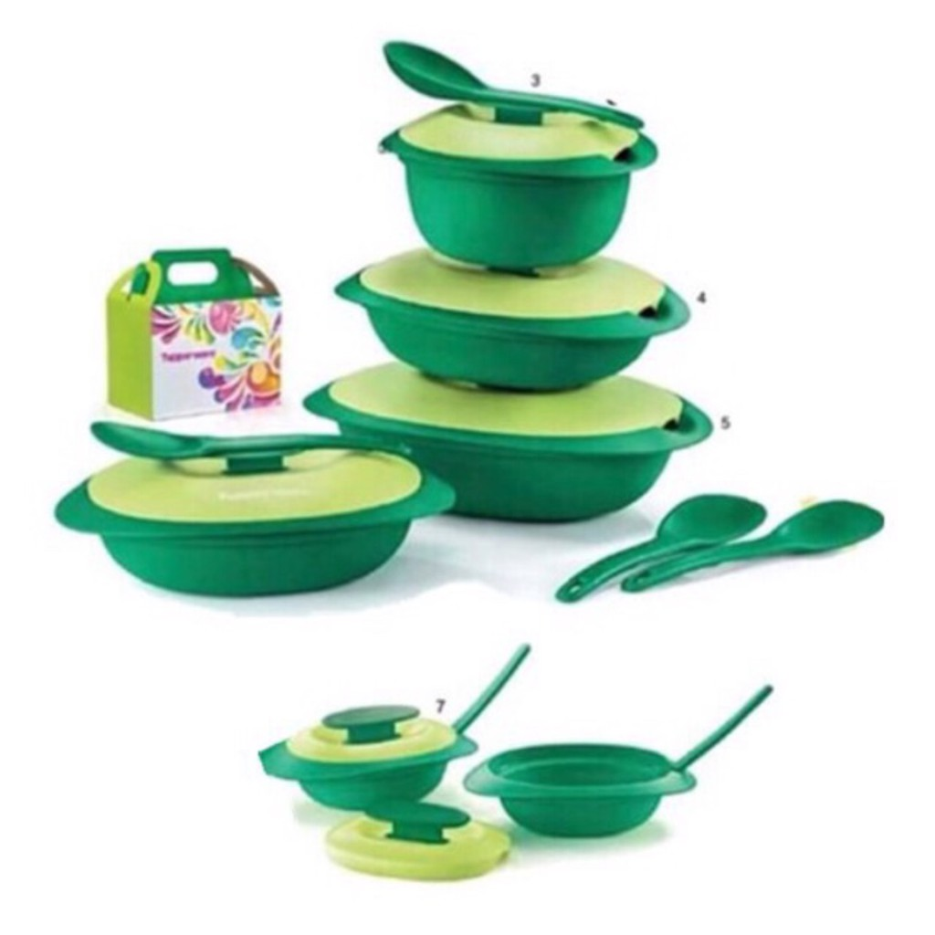 TUPPERWARE Emerald Serving Set w Sambal Dish