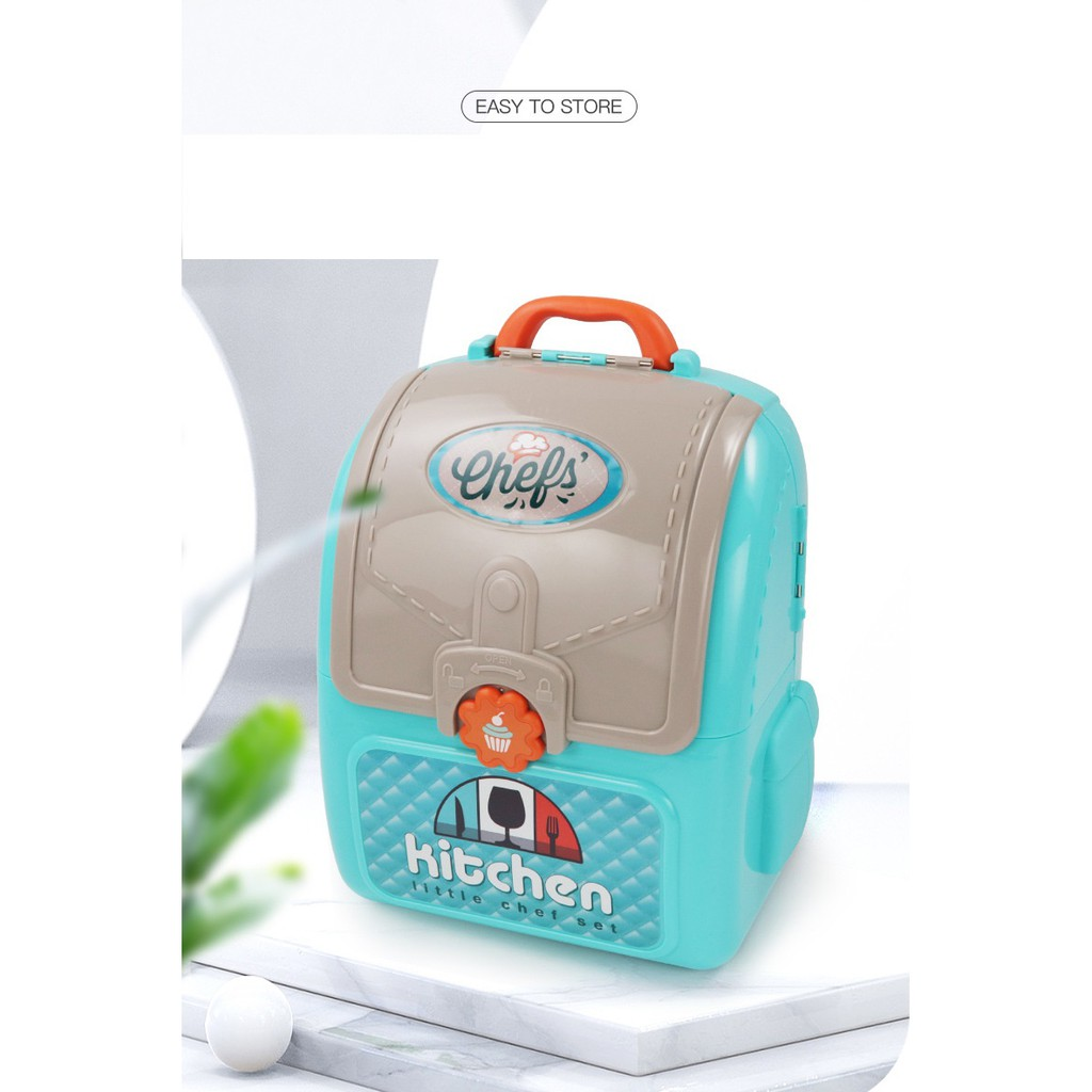 2 IN 1 PORTABLE BACKPACK LITTLE CHEF CHILDREN KITCHEN PLAY SET TOY FOR GIRL AND BOYS