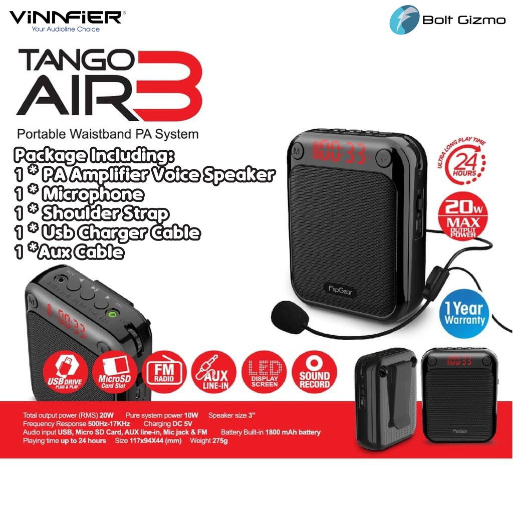 Tango Air 3 Portable Waistband Voice PA Amplifier Loudspeaker Aux Microphone Conference Travel Tour Guide Speech Umrah