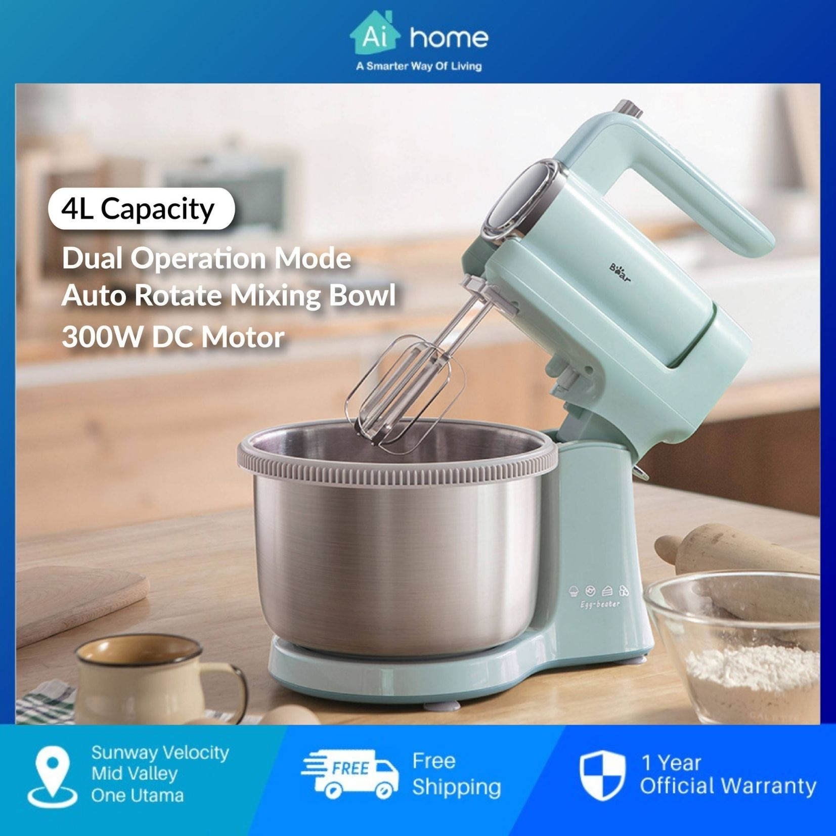 Bear Egg Beater DDQ-B03V1 - Microcomputer Display 9 Modes   4L   304 Stainless Steel   Self-Rotating [ Aihome ]