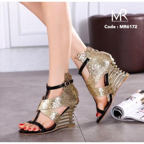 meritshoes 6172 รองเท้าส้นเตารีดแต่งหนังกลิสเตอ
