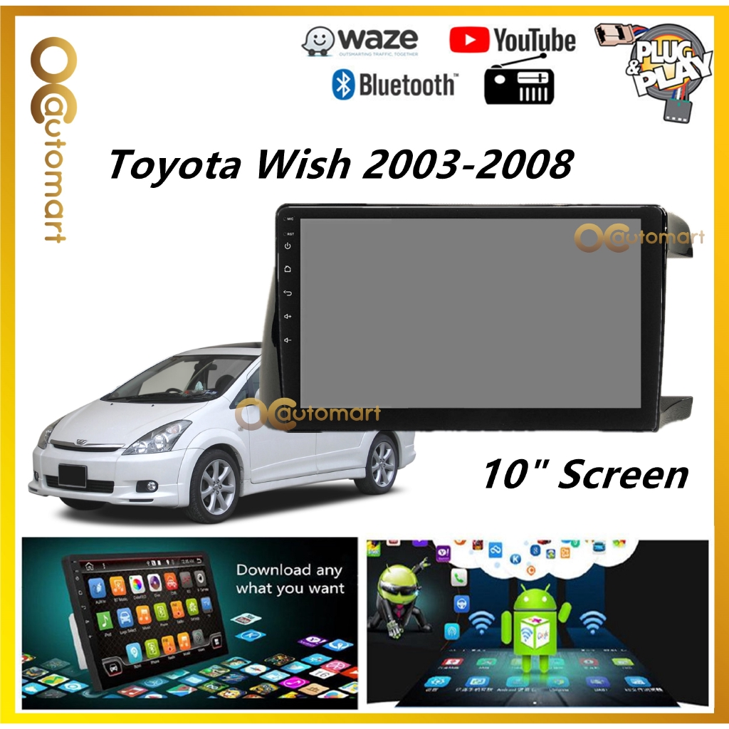 """Toyota Wish 2003-2008 Big Screen 10"""" Plug and Play Android Player Car Stereo With WIFI And TouchScreen"""