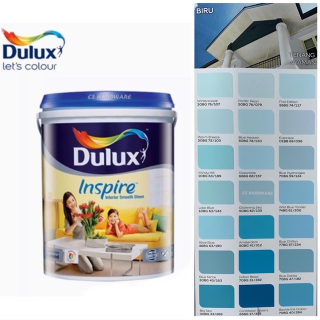 5 Litre ICI DULUX Inspire Interior Smooth Sheen Paints (BLUE)