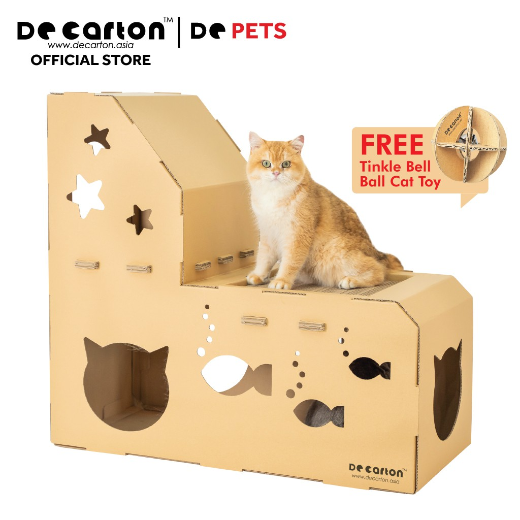 De Carton Cardboard L-Shape Meow Cat Playhouse (Rumah Mainan Kucing Berbentuk L-shaped)