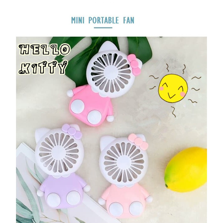 Hello Kitty Cute Cartoon Fan Chargeable Portable Electric Mini Fan Colorful Light Cooling Fan