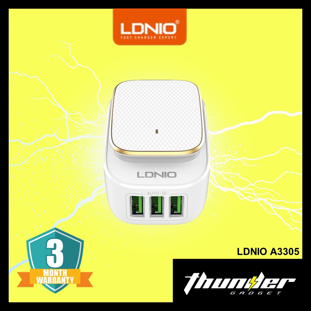 LDNIO A3305 LED TOUCH WITH 3-PORT USB AUTO-ID CHARGER 3.4A