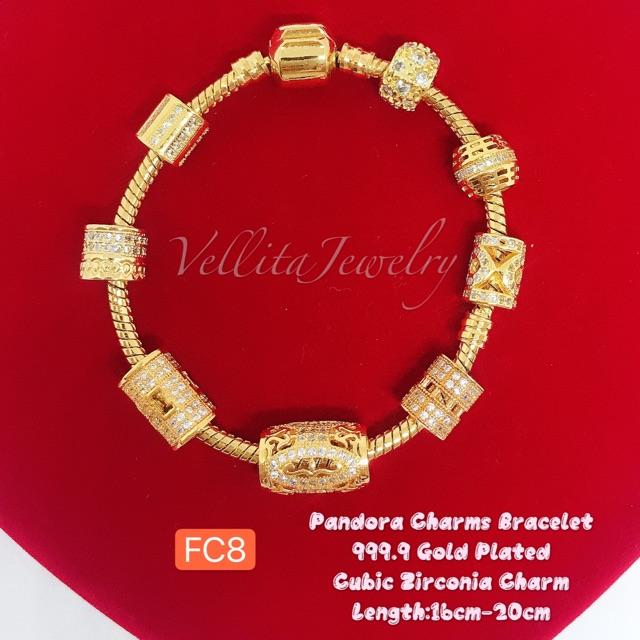 Cop916 Bracelet Charm Cubic Zirconia 999 9 Bangkok Gold Plated Gelang Charm Blink Blink Shopee Malaysia