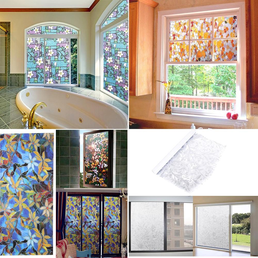 45x100cm Pvc Flower Pattern Window