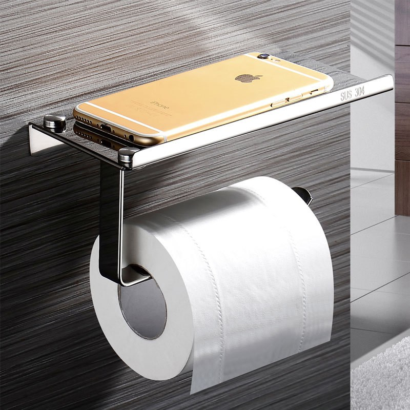 Space Aluminum Paper Holder Toilet Paper Thickened Roll Paper Box Basket Bracket