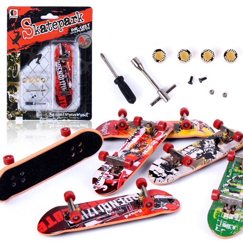 Finger Skateboard Kids Toys Boxed Fingerboard with Tools and Spare Parts