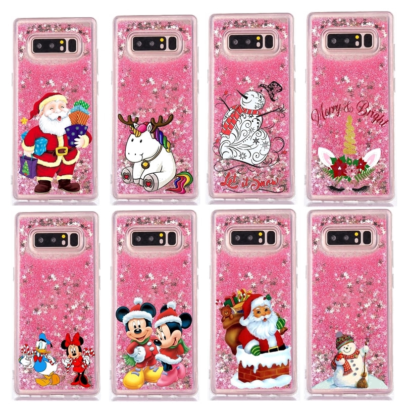 For Samsung J7 J8 2018 Case Liquid Christmas Minnie Unicorn Soft Silicone Cover