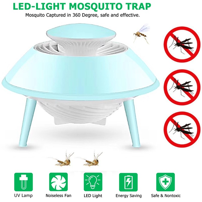 Electronic Mosquito Insect Buzz Killer UFO LED Lamp Light Reject Anti Pest Control Suction Repellent