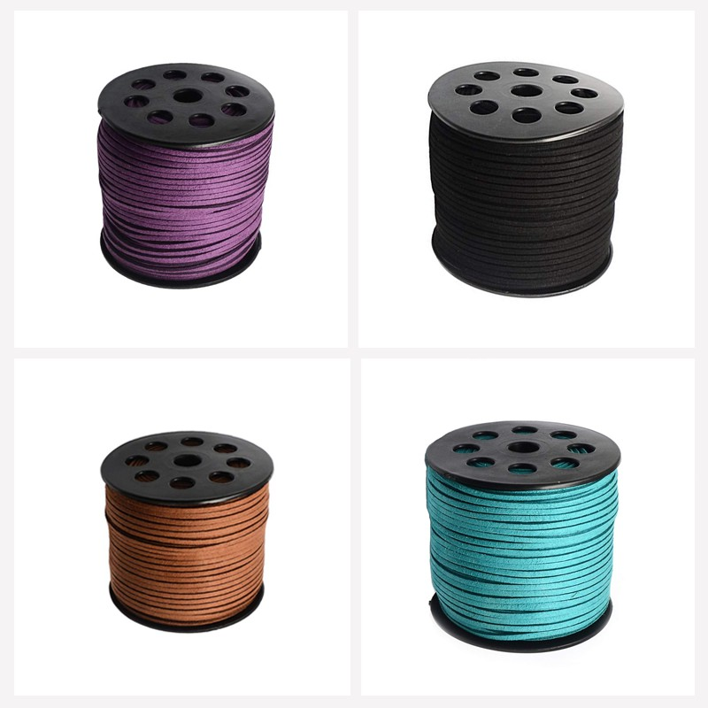 90m//Roll Faux Suede Cord Faux Suede Lace For Craft Jewelry Beading Making Black