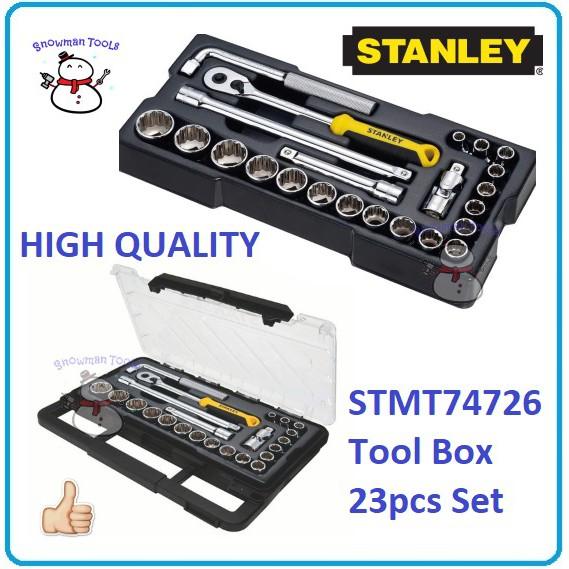 "STANLEY 1/2"" 23PCS 8MM-32MM STMT74726-8C SOCKET SET RACHET EXTENSION BAR UNIVERSAL JOINT 75095 75-095 NUT HAND TOOL SETS"