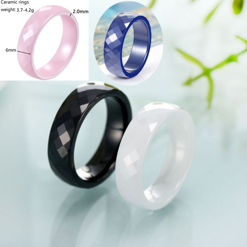 Wedding Bands Classic Bands Faceted Domed Bands Ceramic Pink Faceted 8mm Polished Band Size 9