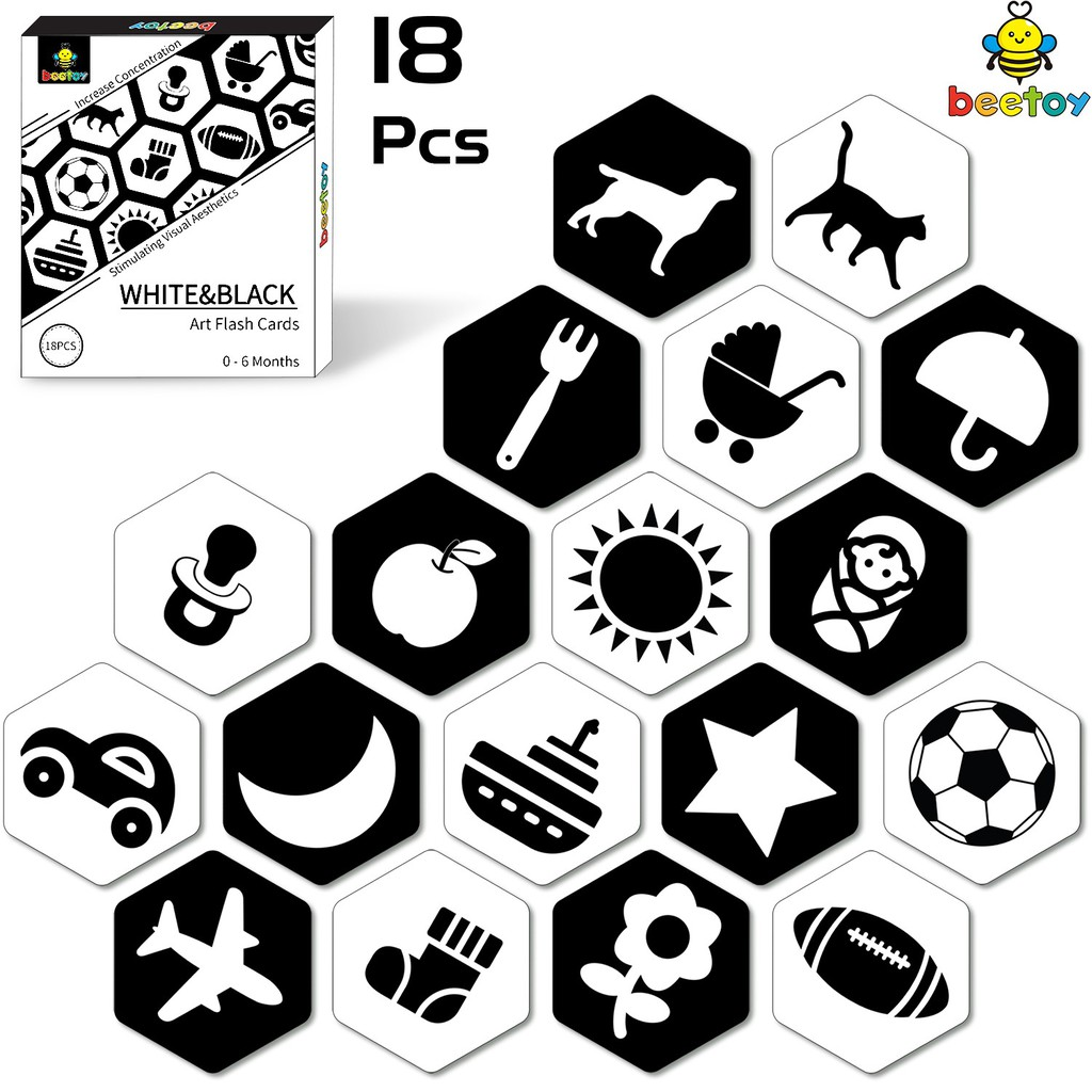 Beetoy Flash Cards Black And White For Infants Toddler Educational Learning Toys Shopee Malaysia