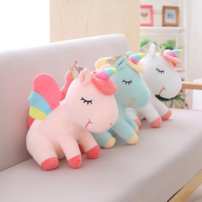 ProductImage. ProductImage. New 20Cm Soft Pink Unicorn Horse Plush Fluffy Stuffed Animal Doll Toys Kids Gift