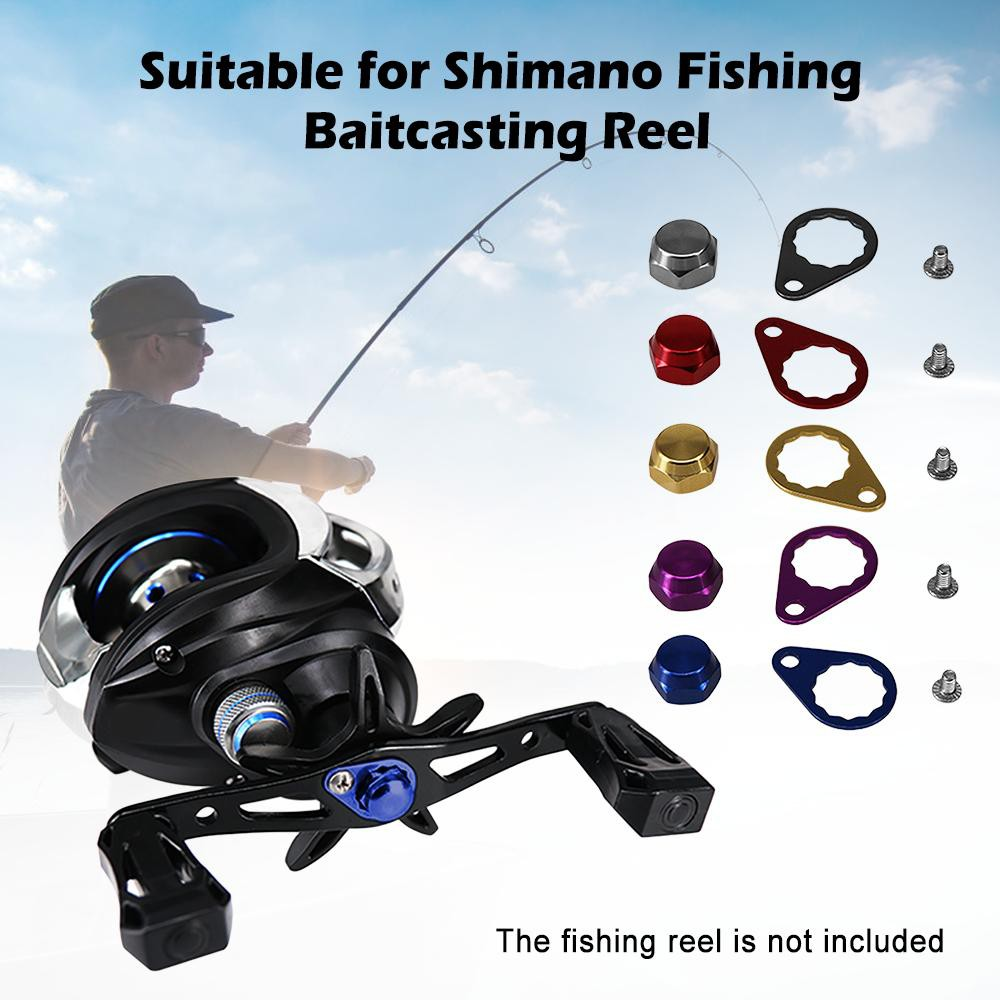 Metal Fishing Reel Left//Right Handle Screw Crank Nut Cap With Locking Plate AM