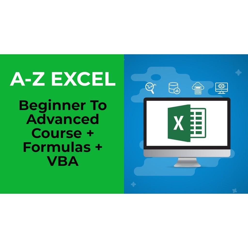 A Z Excel Beginner To Advanced Course + Formulas + VBA