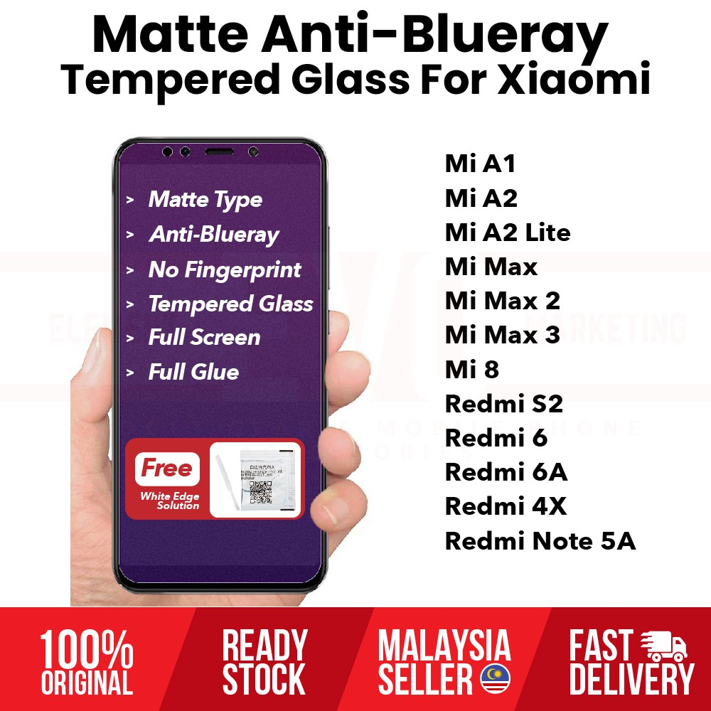 Matte Anti-Blueray Tempered Glass for Xiaomi Mi 8 Mi Max 3 Mi A2 Redmi 6 S2  4X