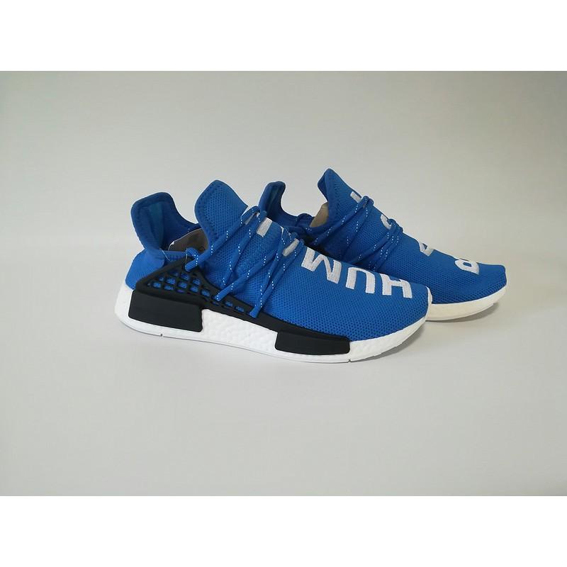 half off ea842 8351d 2018 discount Adidas Original Pharrell Williams Human Race NMD running  shoes Mens Womens Sneakers Blue