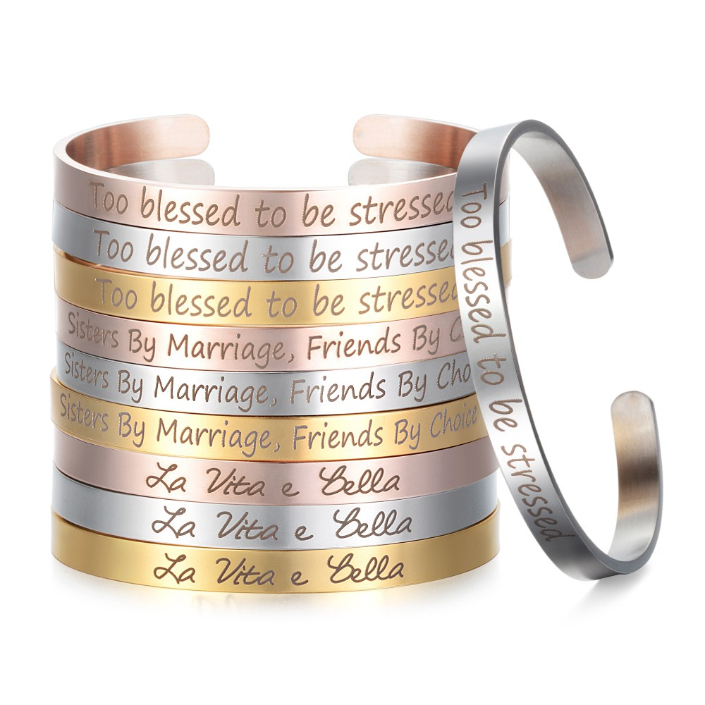 c38dc0dbf41f7 Stainless Steel Cuff Mantra Bangle Engraved Positive Inspirational Bracelets