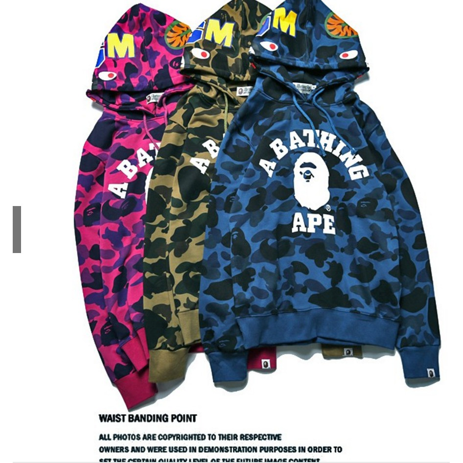 6b5dde98e0220 ProductImage. ProductImage. Men's Bape A Bathing Ape Full Zip Shark Head  Camo Hoodie Coat Sweatshirt Jacket.