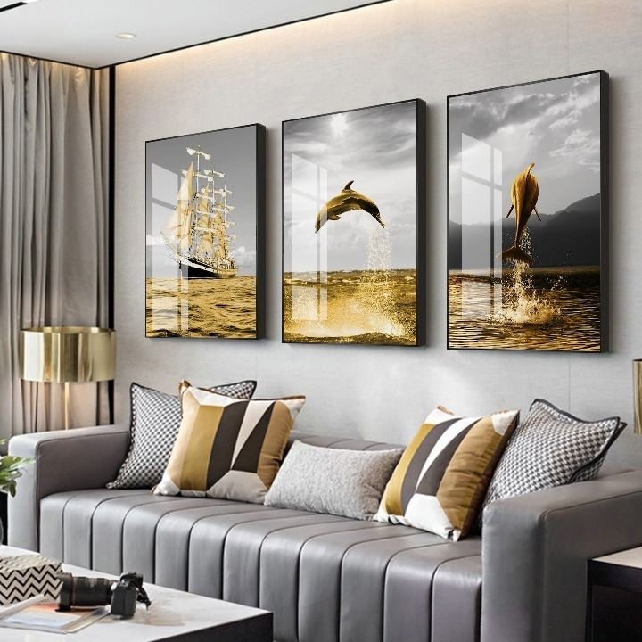 Modern Minimalist Living Room Decoration Painting Nordic Sofa Background Wall Hanging Paintings Light Luxury Dining Room Atmosphere Crystal Porcelain Triple Mural Shopee Malaysia