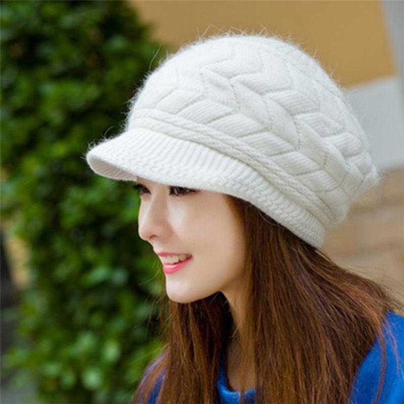 425e17da6 Women's Ladies Cute Fashion Winter Hat Warm Beanies Fleece Inside Knitted  Hats Rabbit Fur Cap