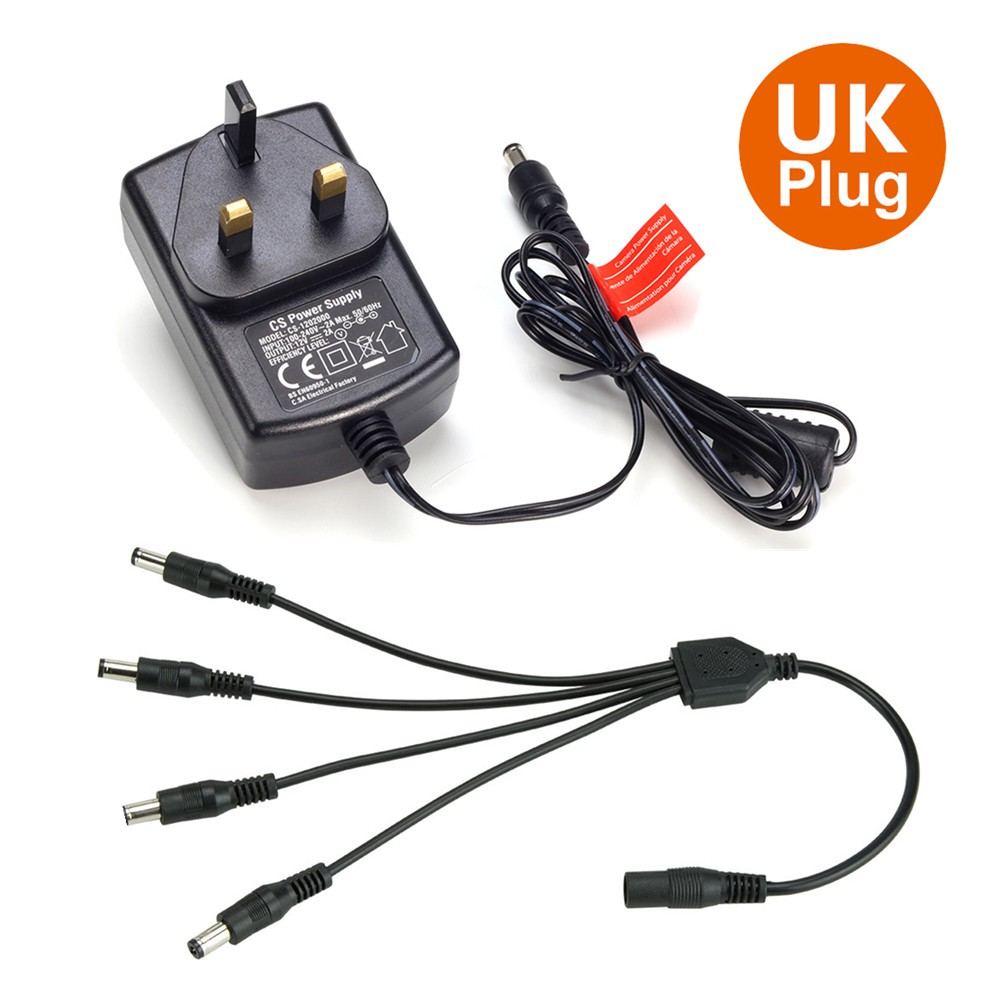 CCTV Switching Power Supply 12V 5A  4 way X DC Out SPLITTER 12 volts  Ac-Dc
