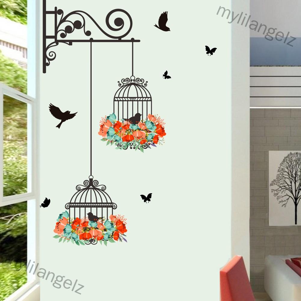Mylilangelz Cute Bird Cage Wall Sticker Art Mural Living Room TV Background Kindergarten Decoration