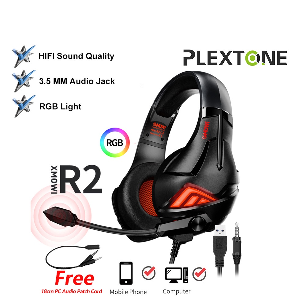 PLEXTONE XMOWI R2 Gaming Headphone Noise Cancelling Over Ear Headset Rotating Microphone Bass PS4 PC Laptop Mac PUBG