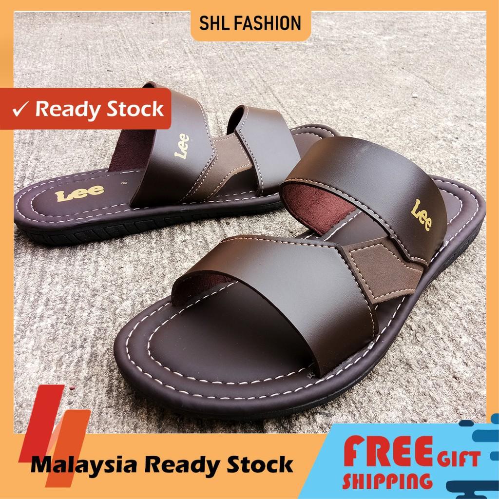 SHL Men Extra Size Sandal Slip On PU Leather Selipar Kasut Lelaki Big Size 6-14【男士拖鞋】-90011
